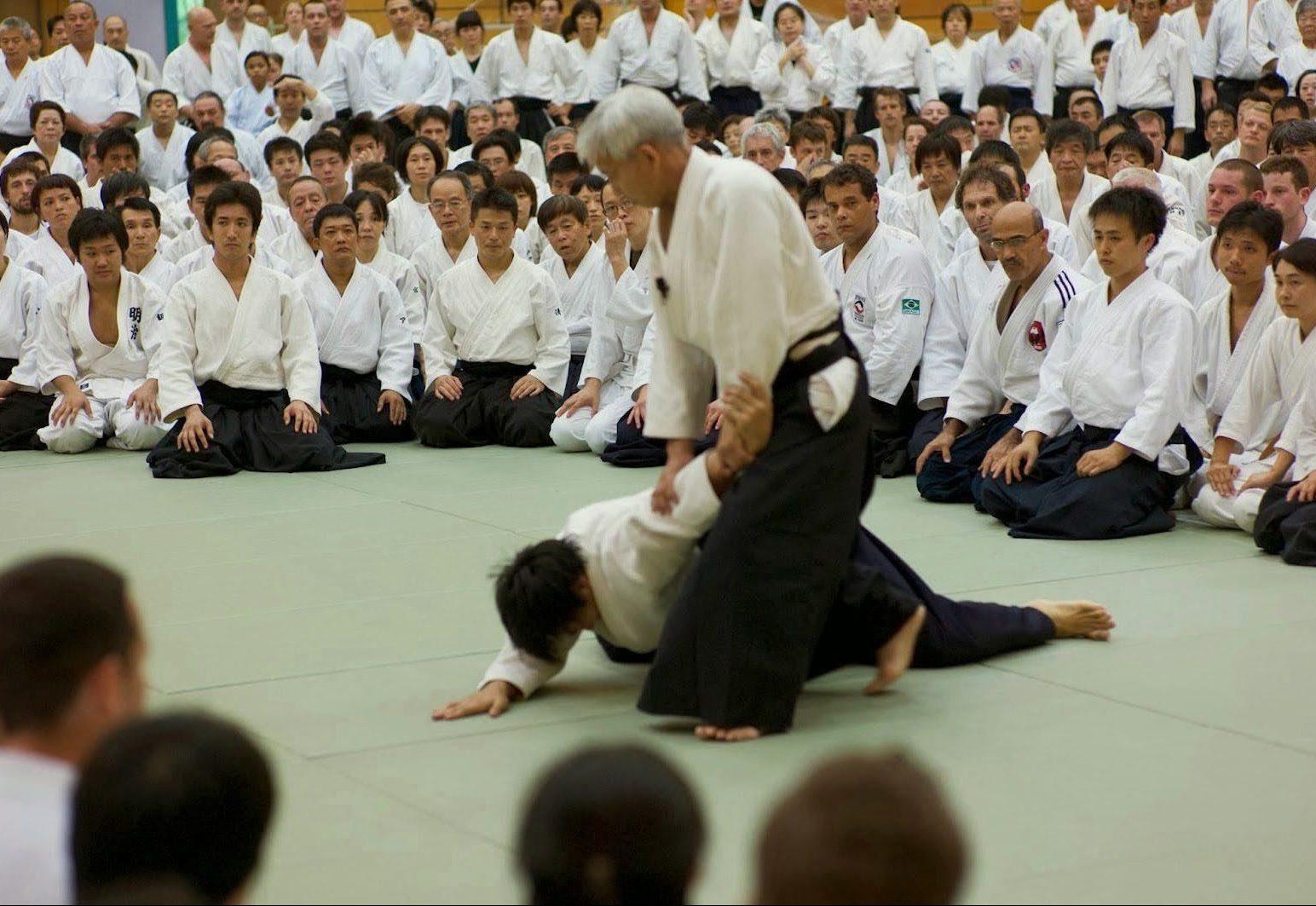 Maestro enseñando en curso de Aikido, donde la etiqueta es muy importante.
