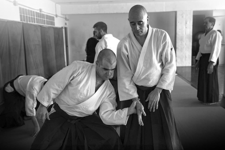 Practicantes de Aikido en dojo de Barcelona, Irimi Madrid.